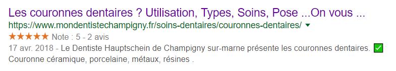 rich snippet dentiste champigny