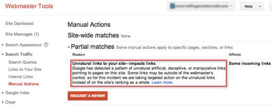 Message search console pour pénalité due à des liens non naturels