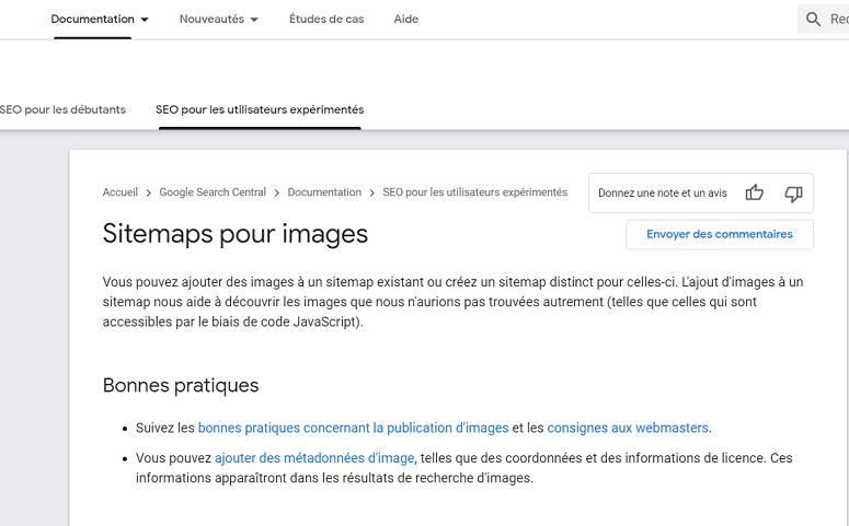 Documentation Google sur les sitemaps d'images