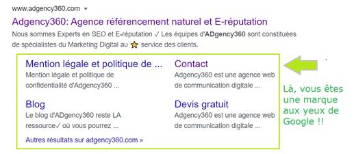 Présentation Google SERPs avec sitelinks